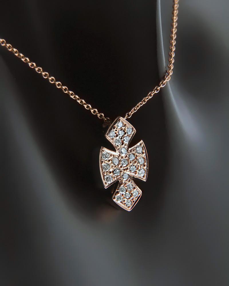 Κολιέ σταυρός ροζ χρυσό Κ18 με Διαμάντια