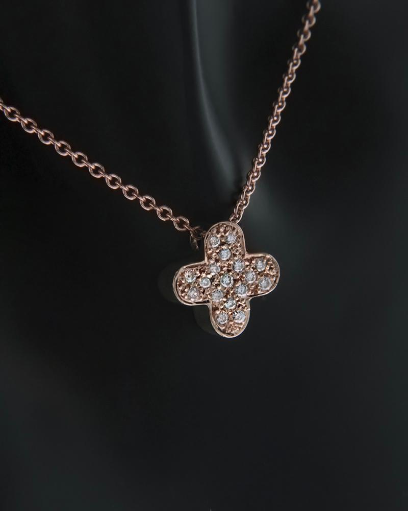 Κολιέ Σταυρός ροζ χρυσό Κ18 με Διαμάντια   γυναικα κρεμαστά κολιέ κρεμαστά κολιέ διαμάντια