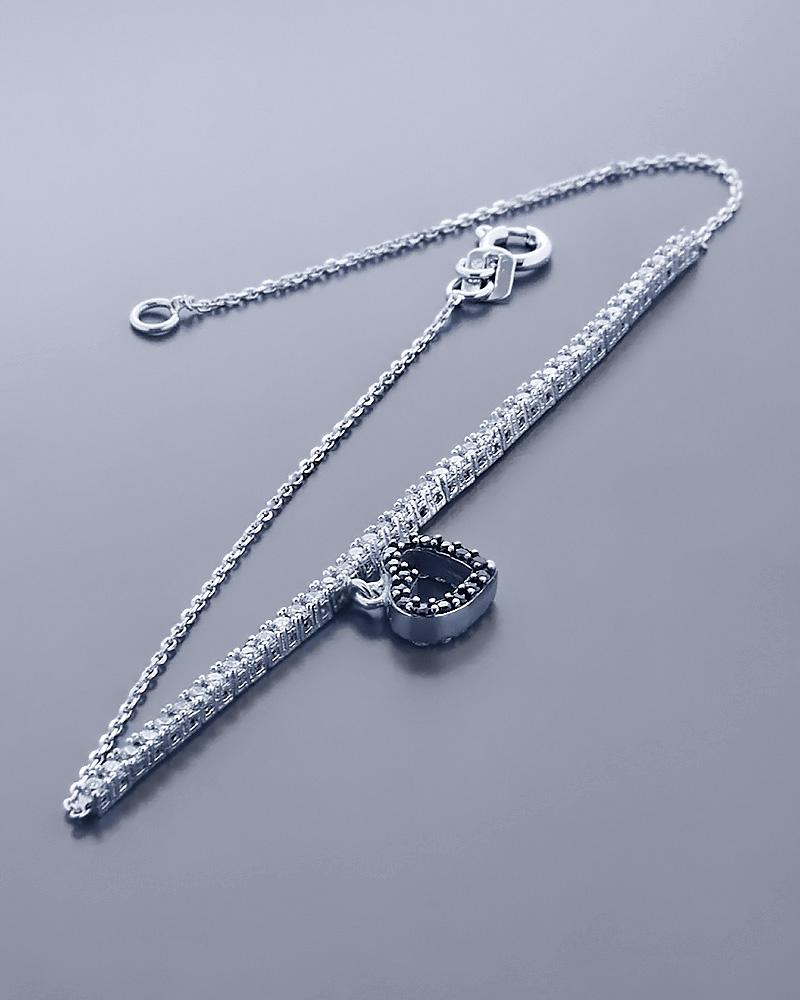 Βραχιόλι καρδιά λευκόχρυσο Κ14 με Ζιργκόν   γυναικα κοσμήματα με καρδιές
