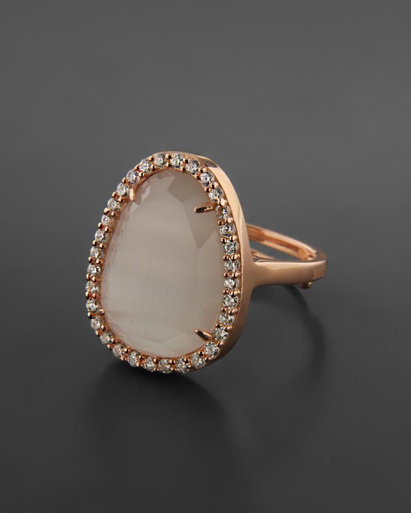 Δαχτυλίδι ασημένιο 925 με Μάτι της Γάτας & Ζιργκόν   γυναικα δαχτυλίδια δαχτυλίδια ημιπολύτιμοι λίθοι