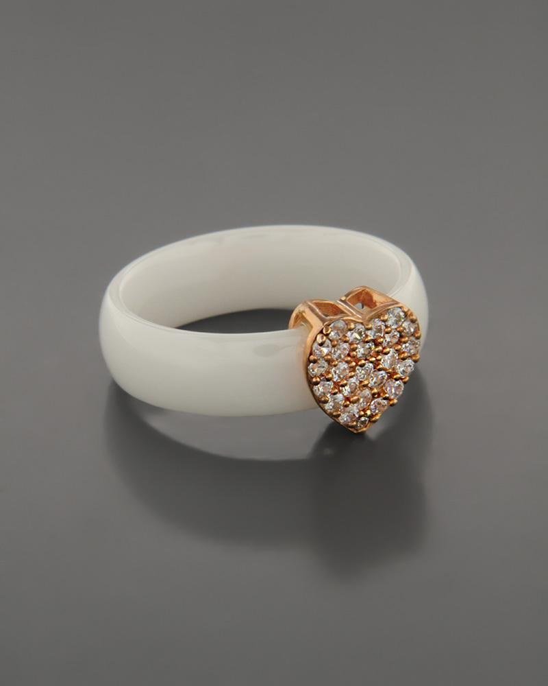 Κεραμικό Δαχτυλίδι με ασημένια Καρδιά απο Ζιργκόν   κοσμηματα δαχτυλίδια δαχτυλίδια ημιπολύτιμοι λίθοι