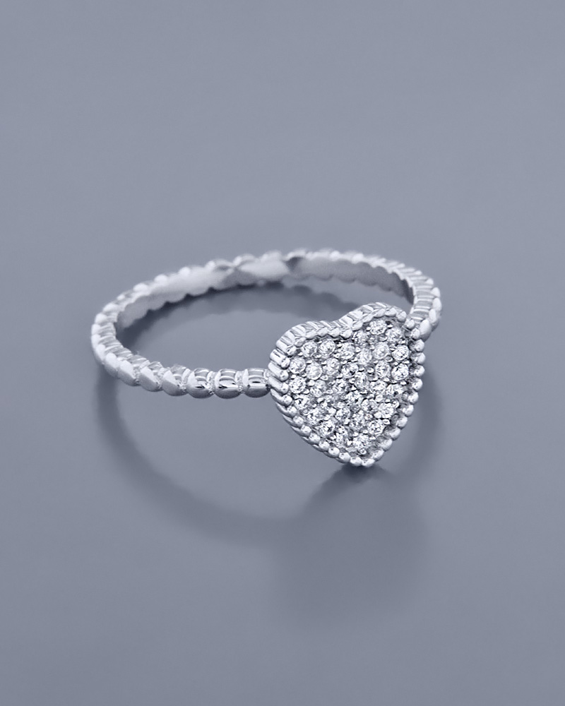 Δαχτυλίδι Καρδιά ασημένιο 925 με Ζιργκόν   γυναικα κοσμήματα με καρδιές