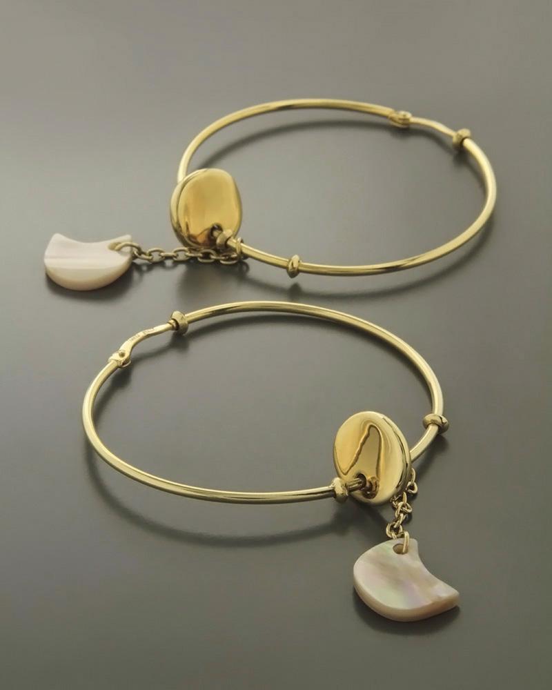 Σκουλαρίκια κρίκοι χρυσά Κ14 με Φίλντισι   κοσμηματα σκουλαρίκια σκουλαρίκια κρίκοι