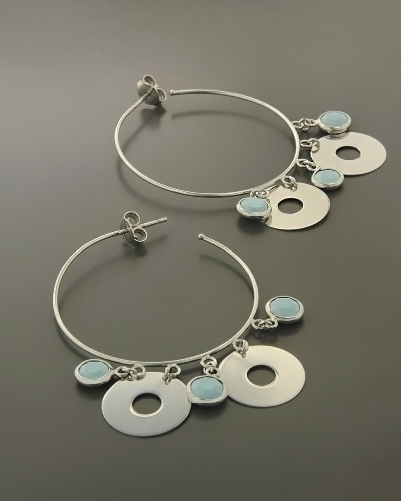 Σκουλαρίκια κρίκοι λευκόχρυσα Κ14 με Τυρκουάζ   κοσμηματα σκουλαρίκια σκουλαρίκια λευκόχρυσα