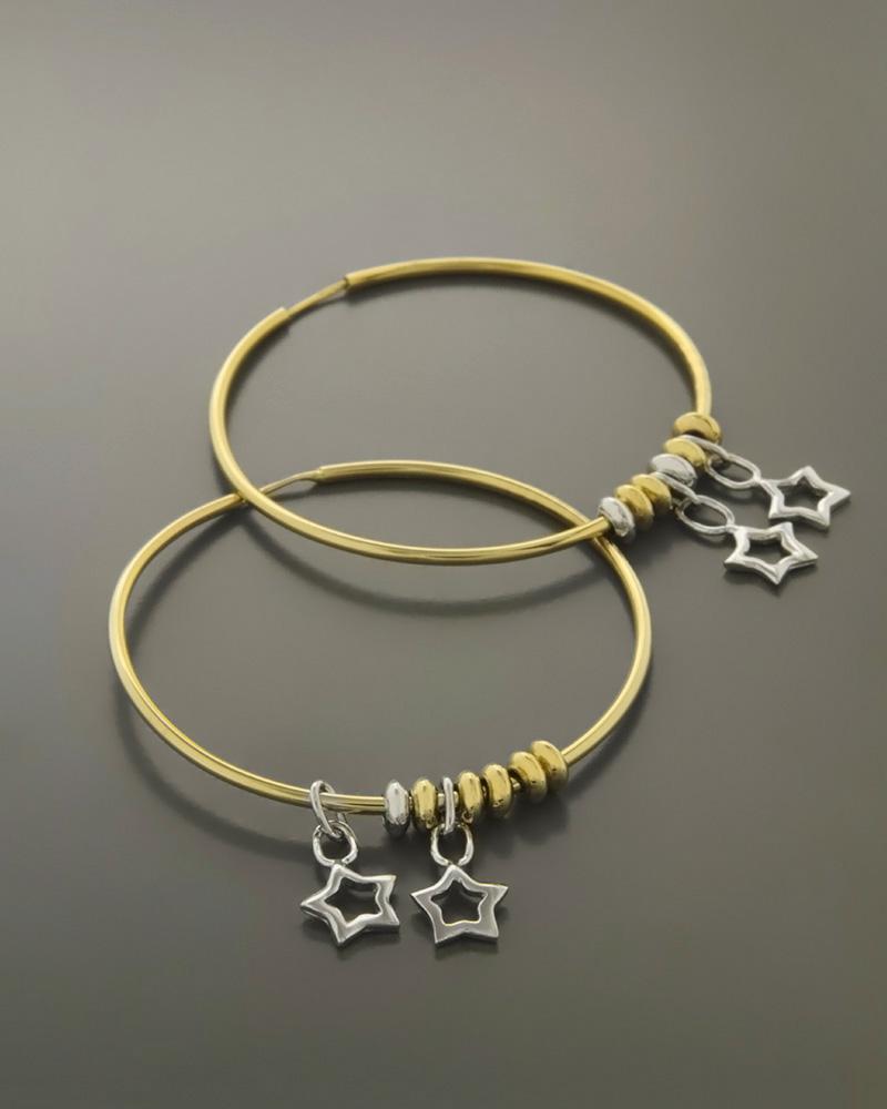 Σκουλαρίκια κρίκοι χρυσά & λευκόχρυσα Κ14   κοσμηματα σκουλαρίκια σκουλαρίκια χρυσά