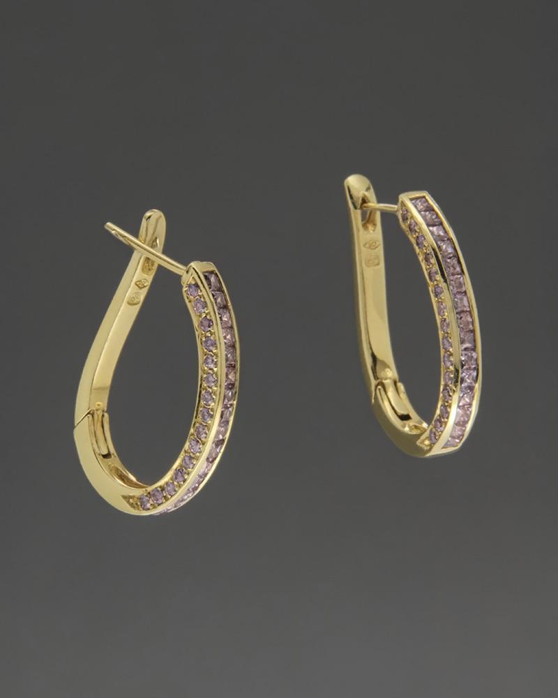 Σκουλαρίκια κρίκοι Χρυσά Κ18 με Ζιργκόν   κοσμηματα σκουλαρίκια σκουλαρίκια χρυσά