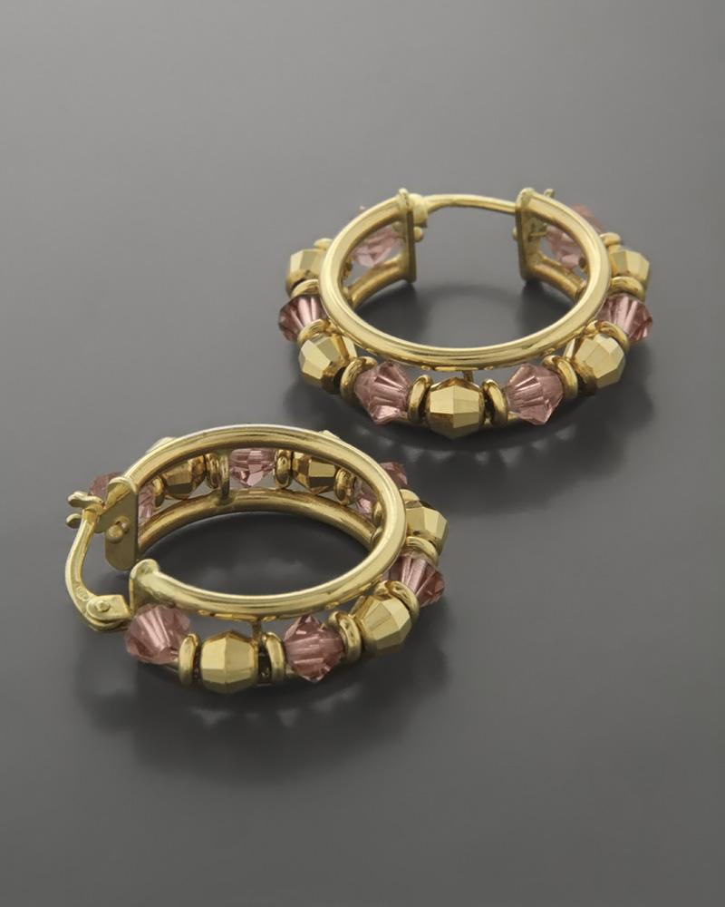 Σκουλαρίκια κρίκοι Χρυσά Κ14 με Αμέθυστο   κοσμηματα σκουλαρίκια σκουλαρίκια χρυσά