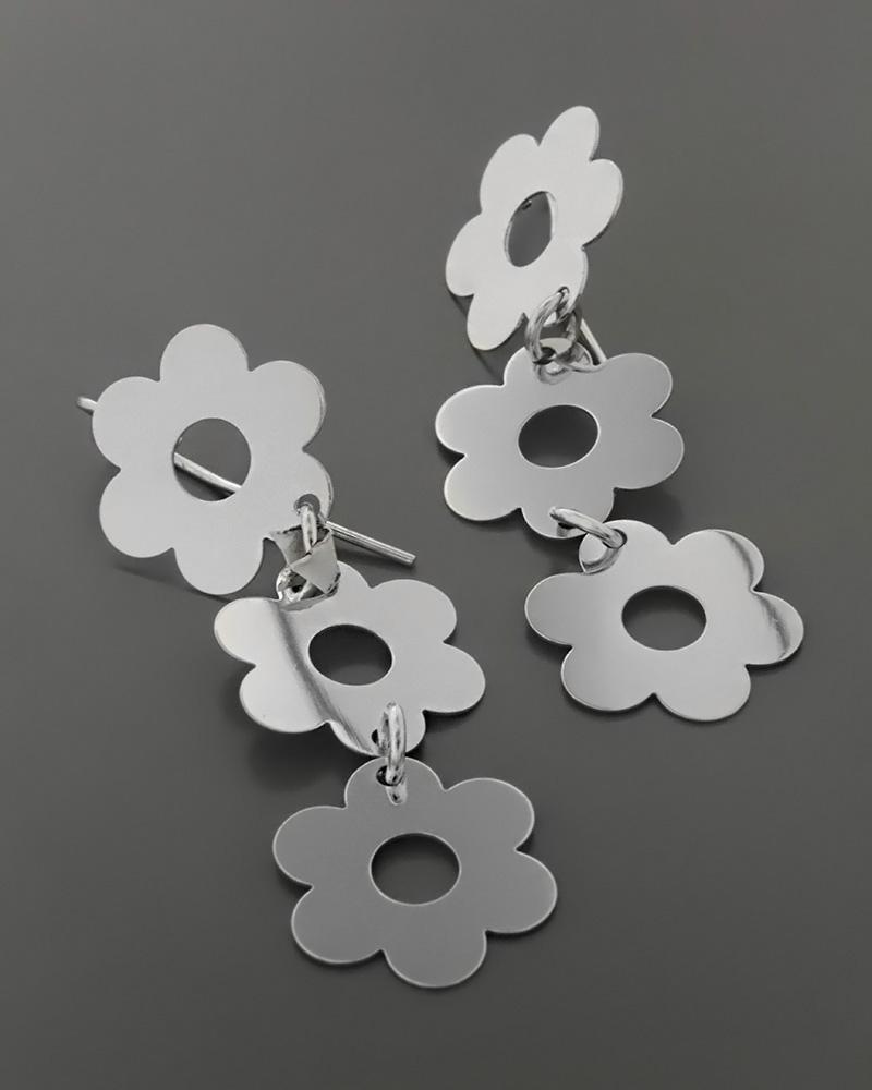 Σκουλαρίκια μαργαρίτες λευκόχρυσα Κ14   γυναικα σκουλαρίκια σκουλαρίκια fashion