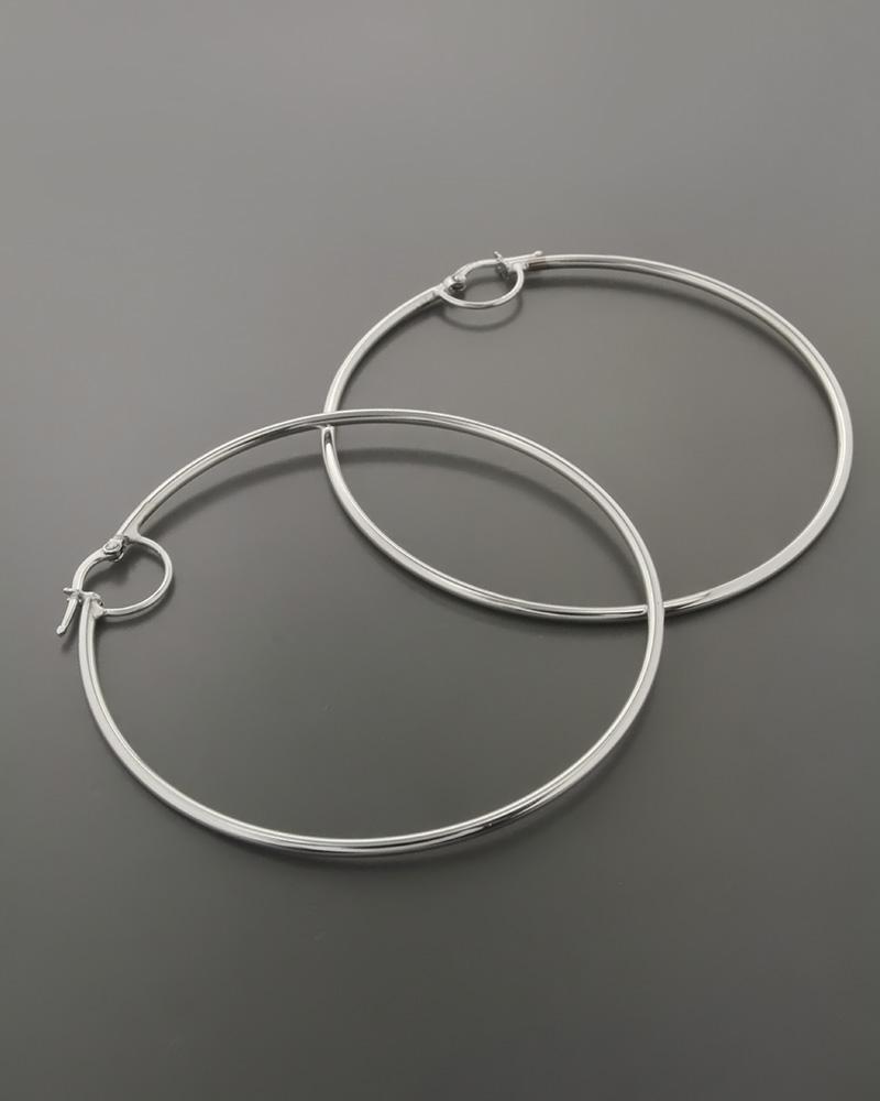 Σκουλαρίκια κρίκοι λευκόχρυσα Κ14   γυναικα σκουλαρίκια σκουλαρίκια κρίκοι