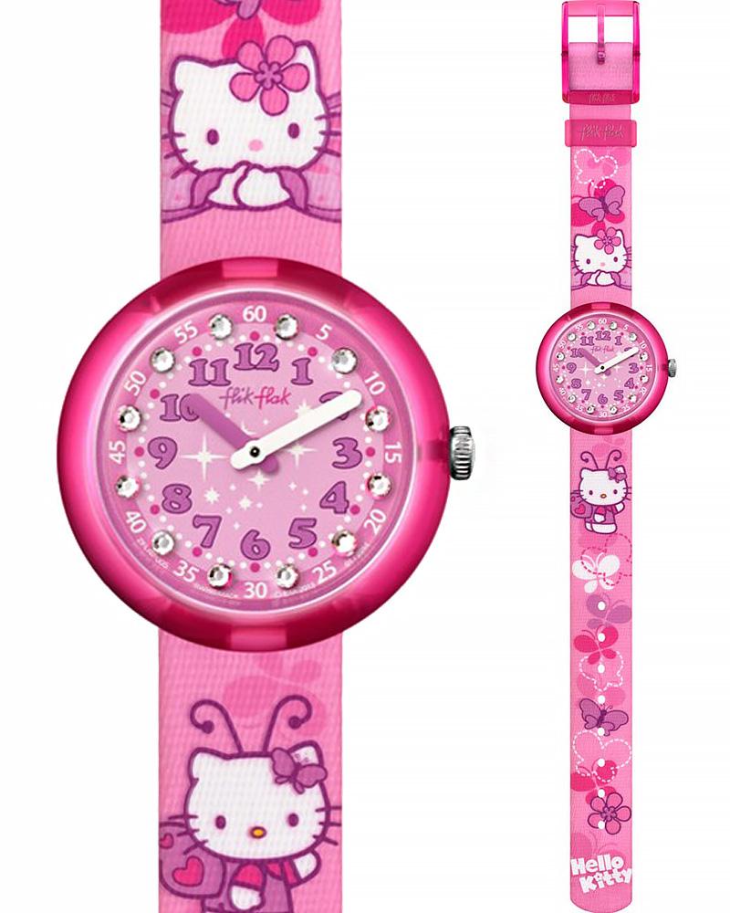Ρολόι Flik Flak Hello Kitty Pink Butterfly ZFLNP005   παιδι παιδικά ρολόγια