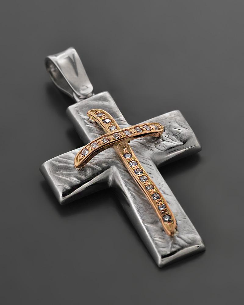 Βαπτιστικός Σταυρός Λευκόχρυσος & ροζ χρυσός Κ14 με Ζιργκόν   κοσμηματα σταυροί σταυροί λευκόχρυσοι