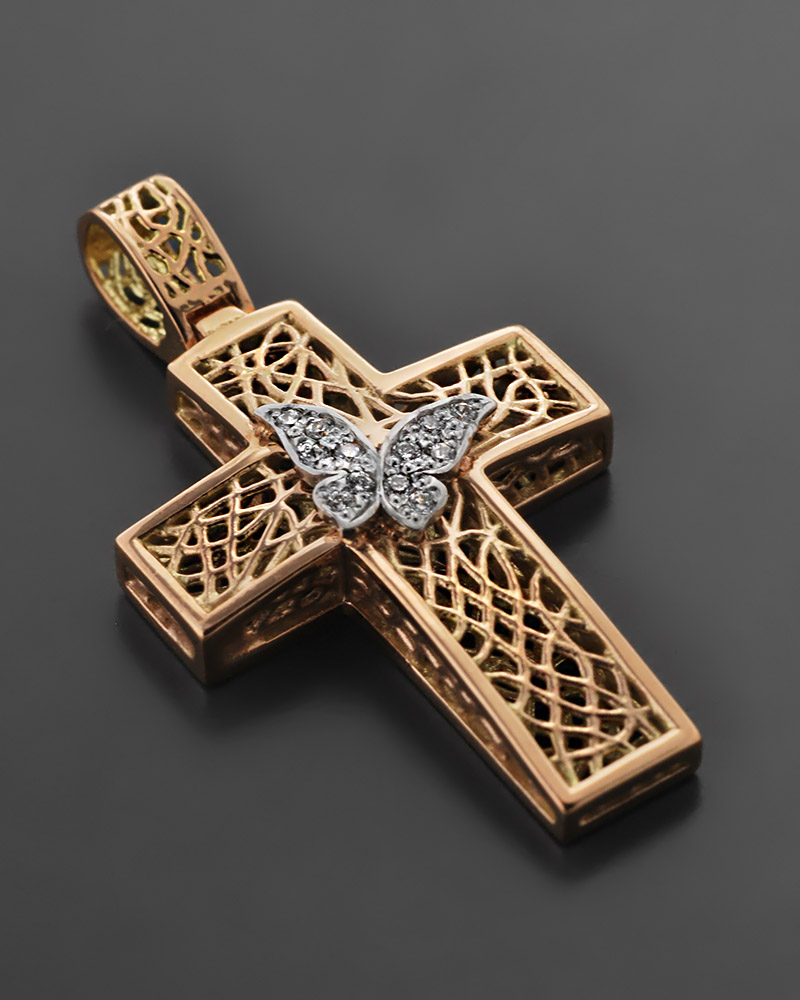 Βαπτιστικός Σταυρός ροζ χρυσός & λευκόχρυσος Κ14 με Ζιργκόν   παιδι βαπτιστικοί σταυροί βαπτιστικοί σταυροί για κορίτσι