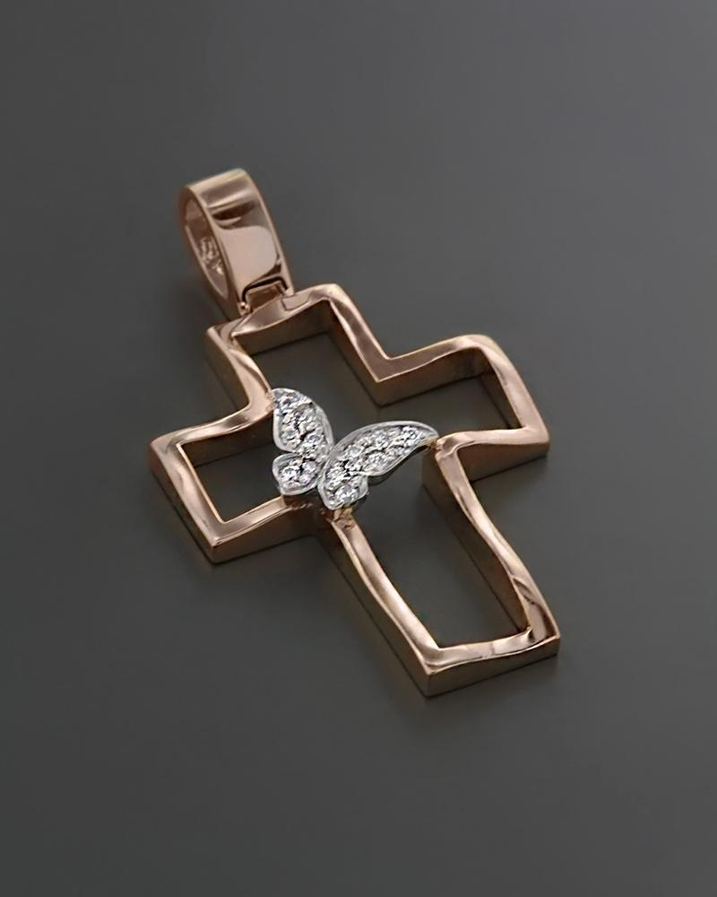 Σταυρός βάπτισης ροζ χρυσό & λευκόχρυσο Κ14 με Ζιργκόν   κοσμηματα σταυροί σταυροί ροζ χρυσό