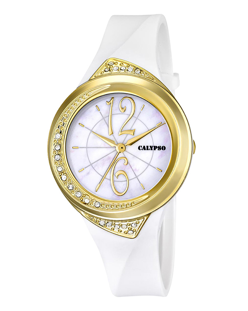 Calypso Ladies Crystals White Rubber Strap 5638/3   προσφορεσ ρολόγια ρολόγια έως 100ε