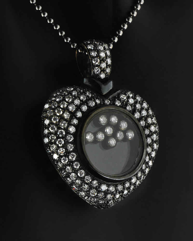 Κολιέ καρδιά λευκόχρυση Κ18 με Διαμάντια   κοσμηματα κρεμαστά κολιέ κρεμαστά κολιέ λευκόχρυσα
