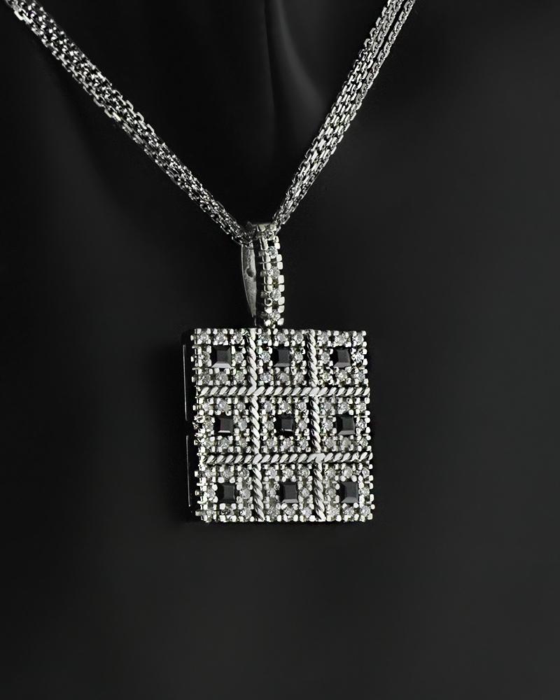 Κολιέ λευκόχρυσο Κ18 με Διαμάντια & Ζαφείρια   γυναικα κρεμαστά κολιέ κρεμαστά κολιέ λευκόχρυσα
