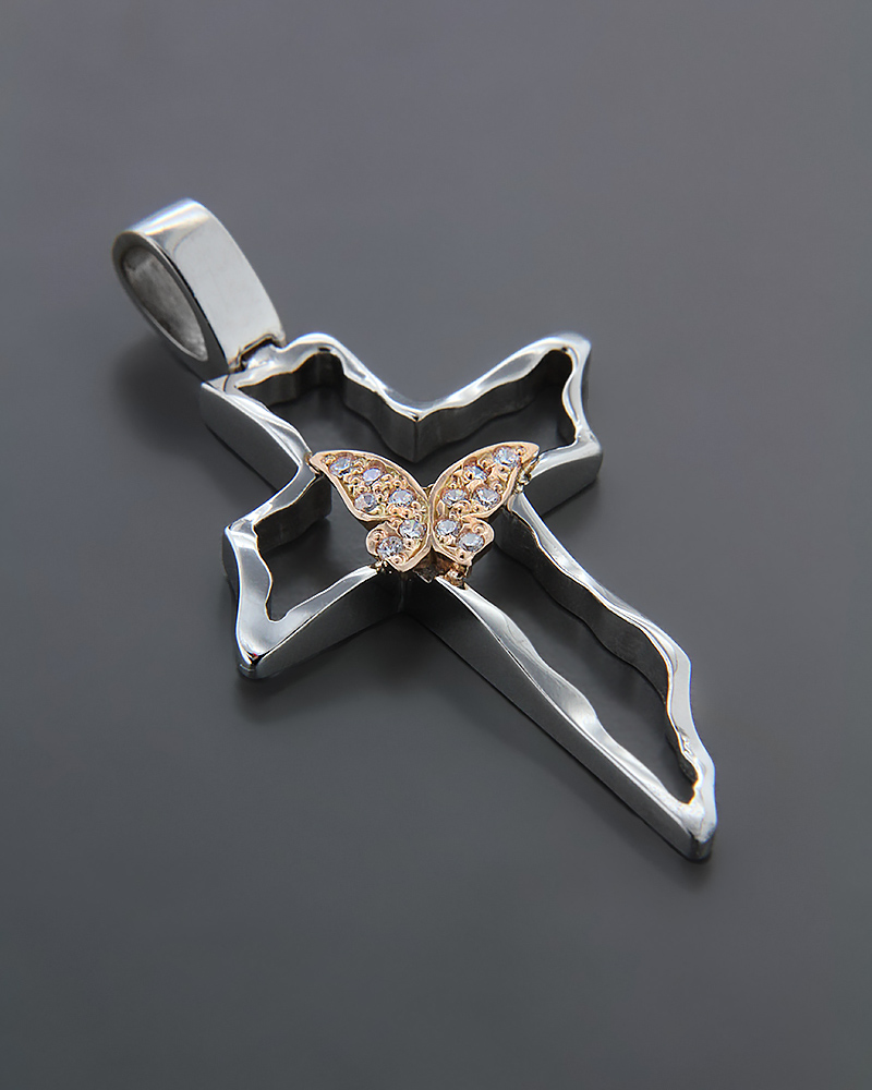 Σταυρός βαπτιστικός Λευκόχρυσος & ροζ Χρυσό K14 με Ζιργκόν   κοσμηματα σταυροί σταυροί λευκόχρυσοι