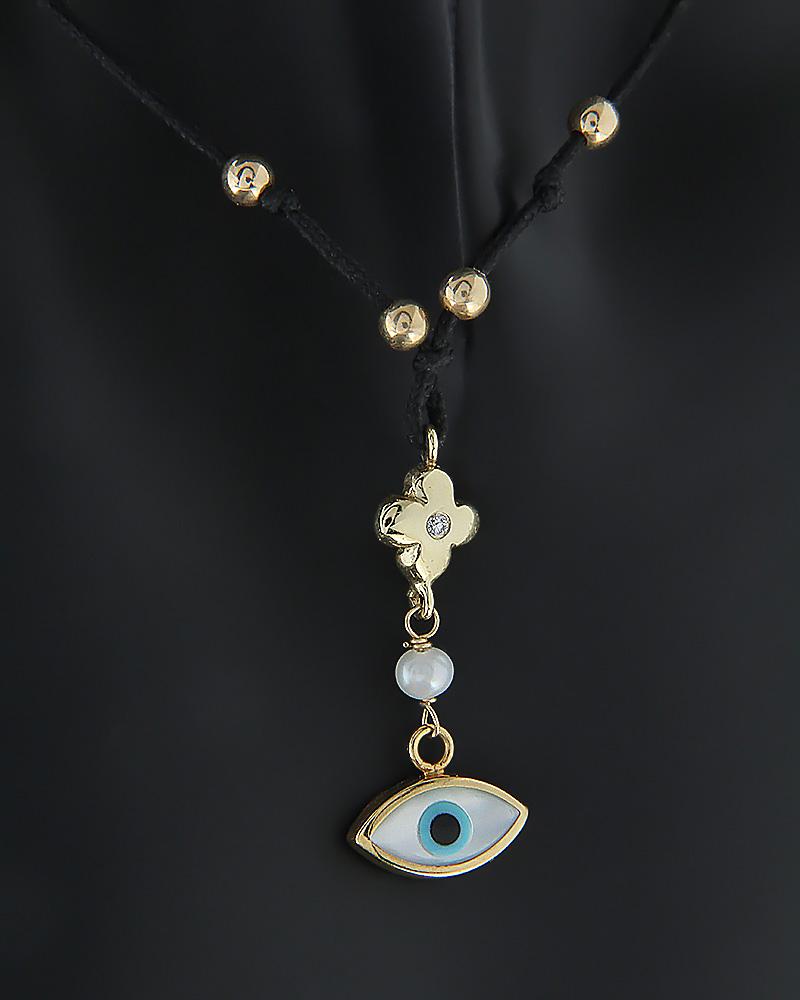 Κολιέ ματάκι χρυσό Κ14 με Διαμάντι, Μαργαριτάρι & Φίλντισι   γυναικα κοσμήματα με ματάκι