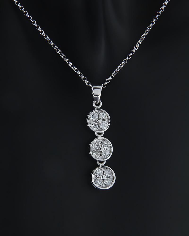 Μενταγιόν λευκόχρυσο Κ18 με Διαμάντια   γυναικα κρεμαστά κολιέ κρεμαστά κολιέ λευκόχρυσα