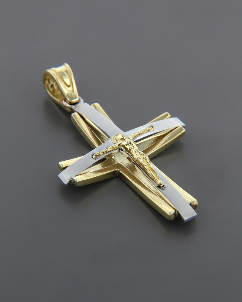 Σταυρός βάπτισης Χρυσός & Λευκόχρυσος K14   ανδρασ σταυροί ανδρικοί