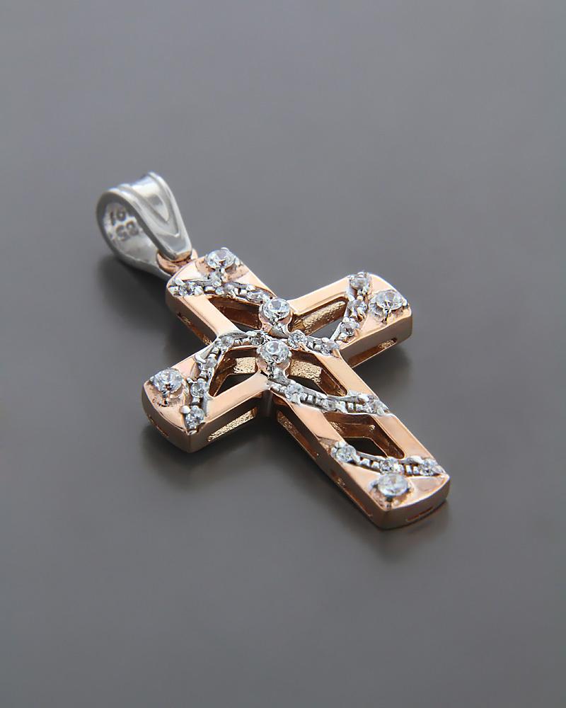 Σταυρός βάπτισης ροζ χρυσός & λευκόχρυσος K14 με Ζιργκόν   κοσμηματα σταυροί σταυροί ροζ χρυσό