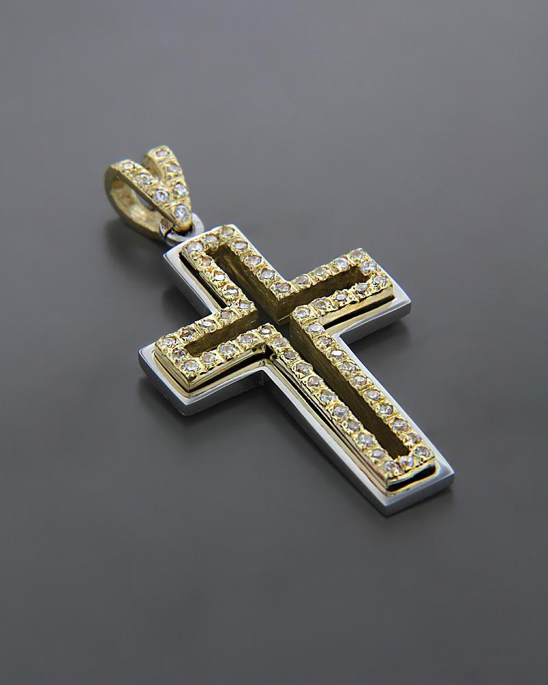 Σταυρός βάπτισης χρυσός & λευκόχρυσος K14 με Ζιργκόν   κοσμηματα σταυροί σταυροί χρυσοί