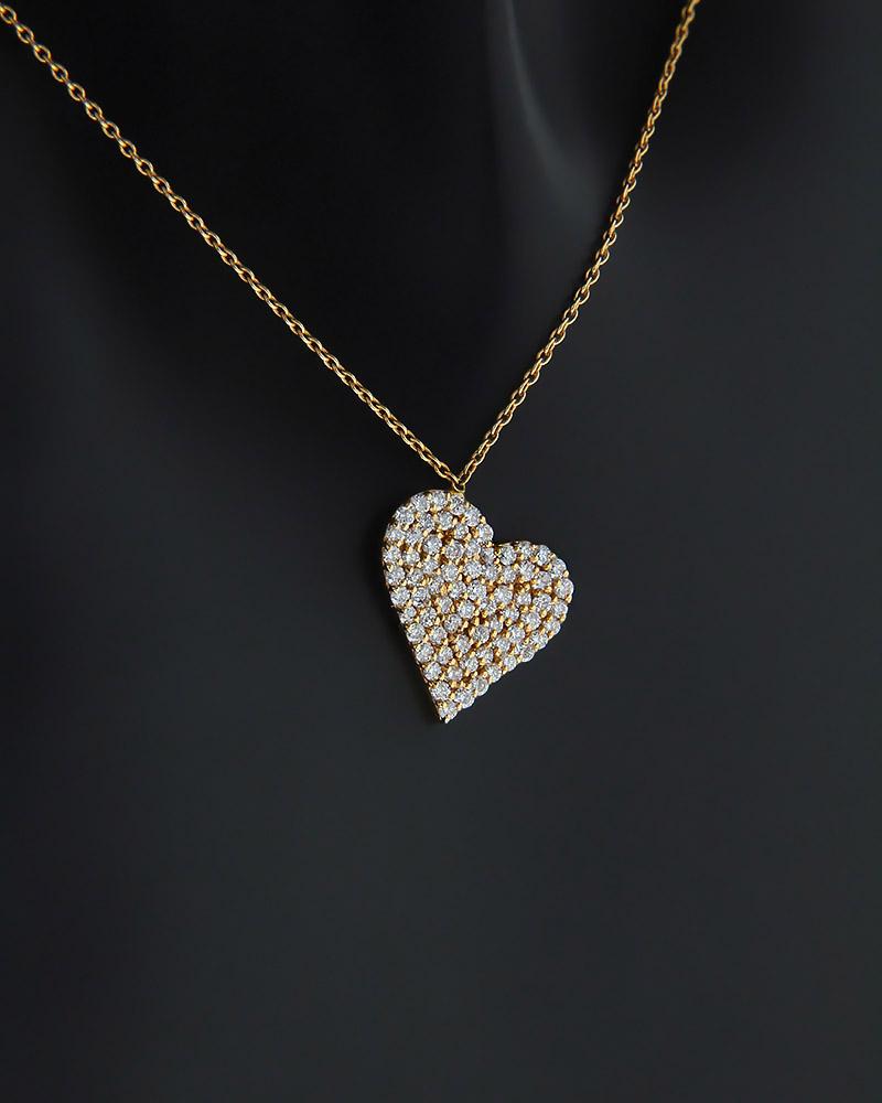 Κολιέ καρδιά ροζ χρυσό Κ18 με Διαμάντια   κοσμηματα κρεμαστά κολιέ κρεμαστά κολιέ ροζ χρυσό