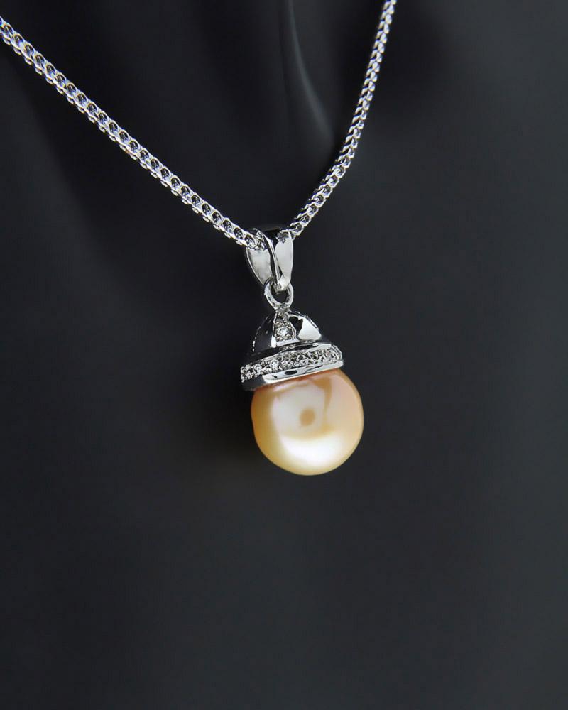 Κολιέ λευκόχρυσο Κ18 με Διαμάντια & Μαργαριτάρι   γυναικα κρεμαστά κολιέ κρεμαστά κολιέ λευκόχρυσα