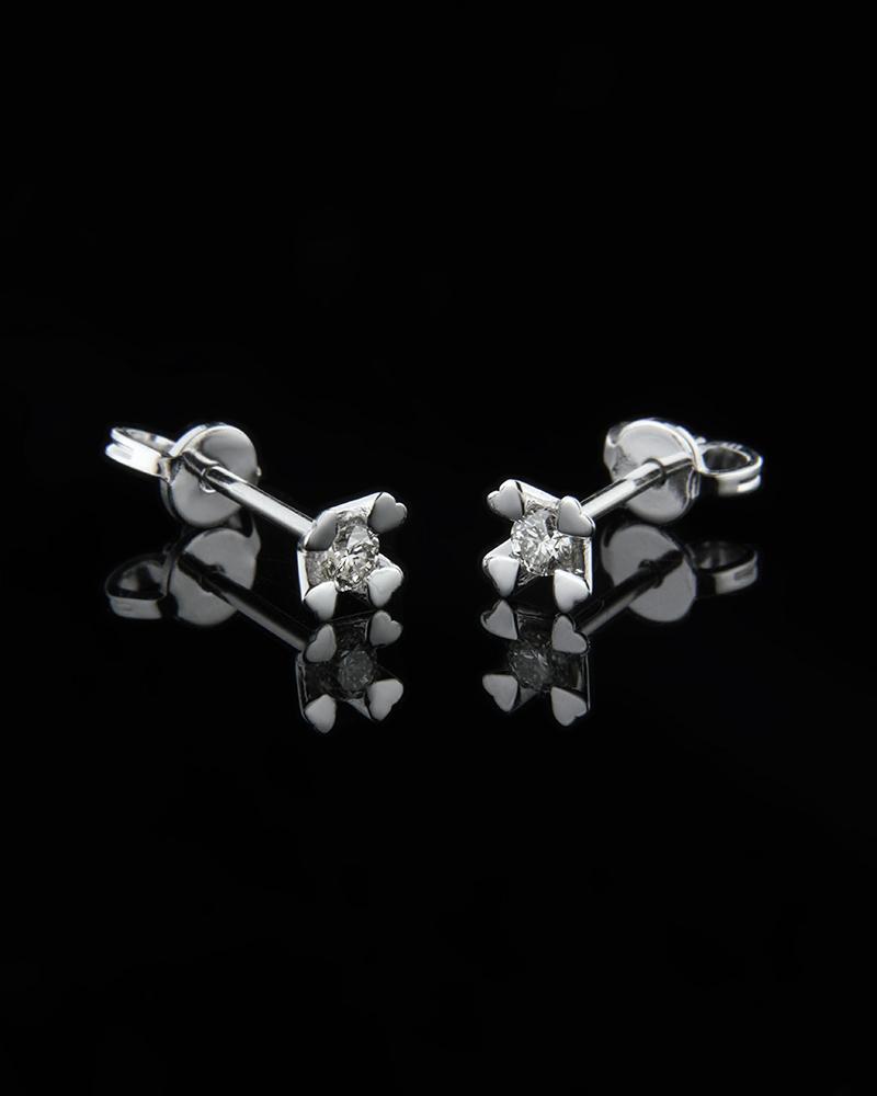 Σκουλαρίκια λευκόχρυσα Κ18 με Διαμάντι   γυναικα σκουλαρίκια σκουλαρίκια λευκόχρυσα