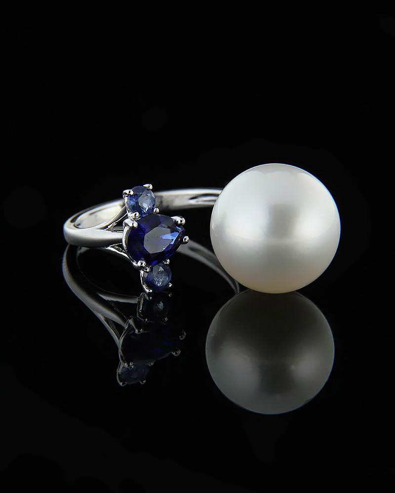 Δαχτυλίδι λευκόχρυσο Κ18 με Ζαφείρια & Μαργαριτάρι   γυναικα δαχτυλίδια δαχτυλίδια με μαργαριτάρια