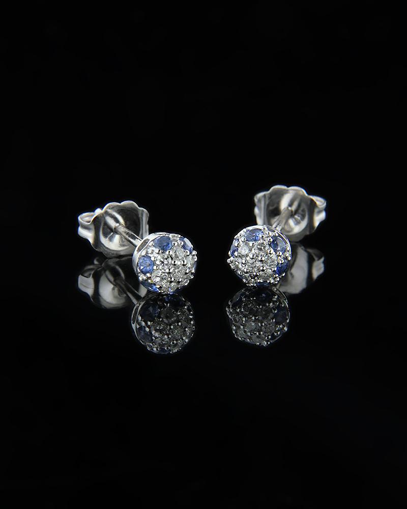Σκουλαρίκια λευκόχρυσα Κ18 με Διαμάντια & Ζαφείρια   γυναικα σκουλαρίκια σκουλαρίκια με διαμάντια