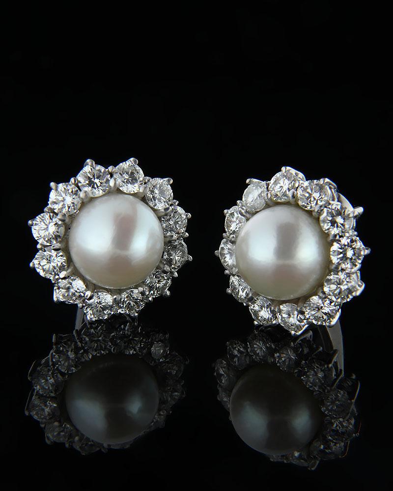 Σκουλαρίκια λευκόχρυσα Κ18 με Διαμάντια & Μαργαριτάρι   γυναικα σκουλαρίκια σκουλαρίκια με διαμάντια