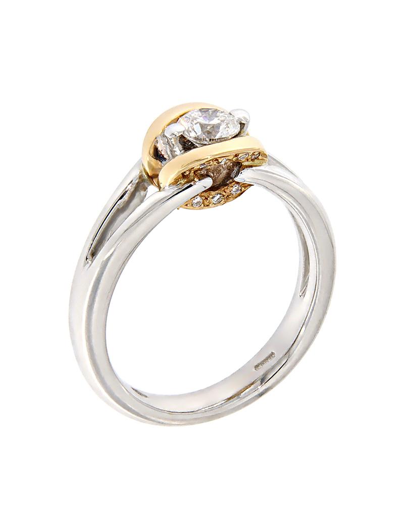 Μονόπετρο δαχτυλίδι λευκόχρυσο & ροζ χρυσό Κ18 με Διαμάντια   γαμοσ μονόπετρα μονοπετρα με διαμάντια
