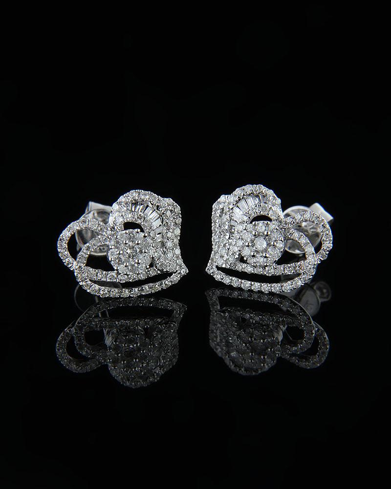Σκουλαρίκια καρδιές λευκόχρυσα Κ18 με Διαμάντια