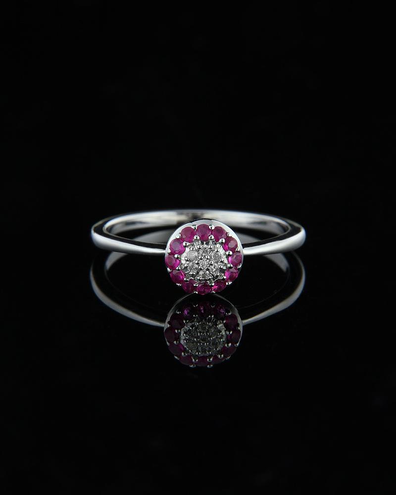 Δαχτυλίδι λευκόχρυσο Κ18 με Ρουμπίνια & Διαμάντια   γυναικα δαχτυλίδια δαχτυλίδια λευκόχρυσα