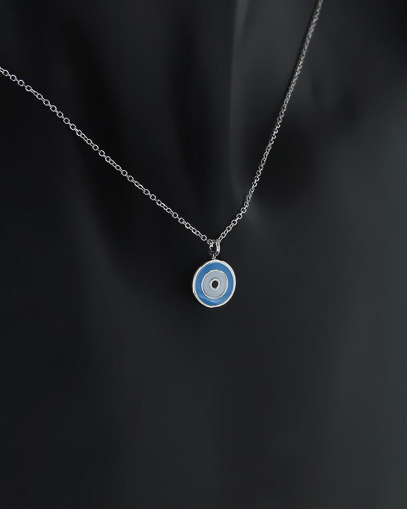 Κολιέ ματάκι λευκόχρυσο Κ14 με Σμάλτο   γυναικα κοσμήματα με ματάκι