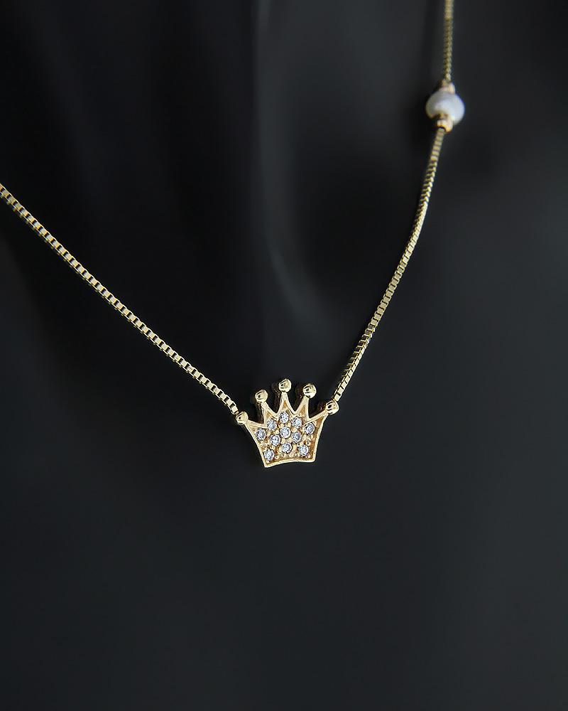 Κολιέ στέμμα χρυσό Κ14 με Ζιργκόν & Μαργαριτάρι   νεεσ αφιξεισ κοσμήματα γυναικεία