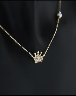 Κολιέ στέμμα χρυσό Κ14 με Ζιργκόν   Μαργαριτάρι edf4e7155b3