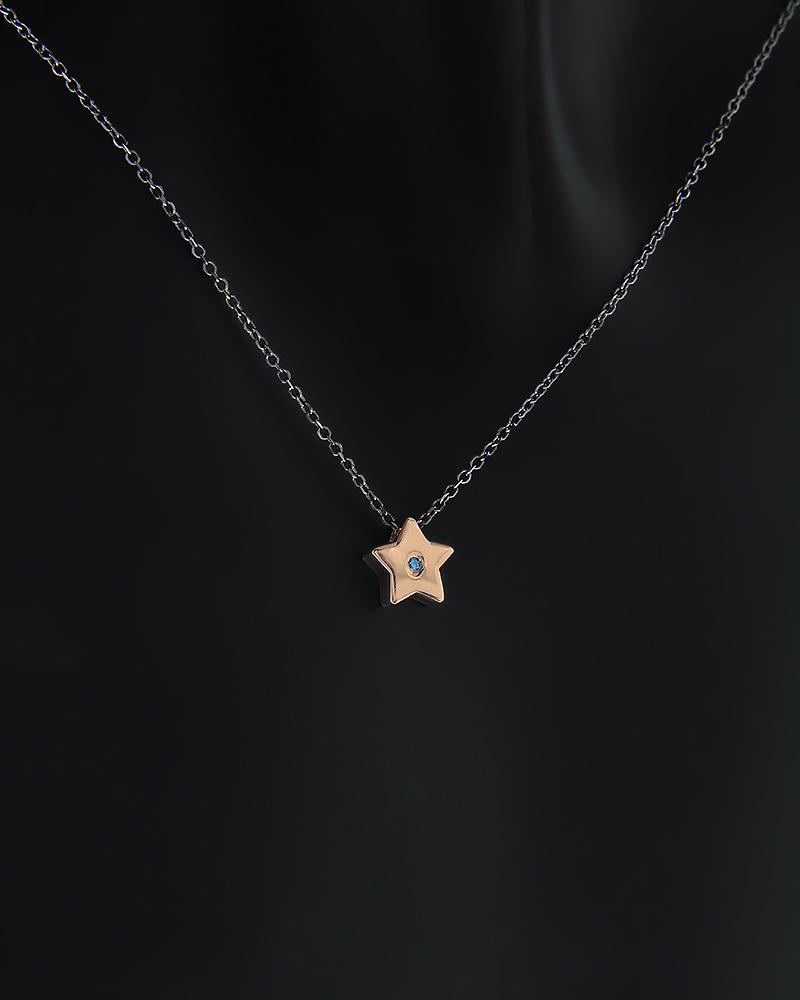 Κολιέ αστέρι ροζ χρυσό Κ14 με Ζιργκόν   γυναικα κρεμαστά κολιέ κρεμαστά κολιέ ροζ χρυσό