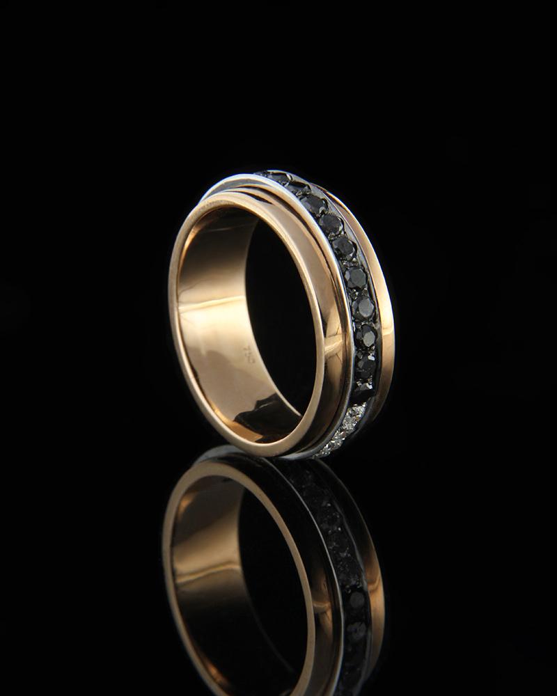 Δαχτυλίδι ροζ χρυσό Κ18 με Διαμάντια   κοσμηματα δαχτυλίδια δαχτυλίδια σειρέ