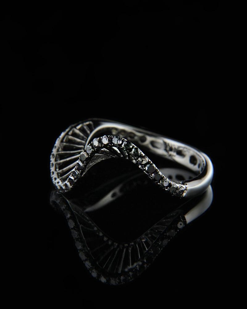 Δαχτυλίδι Λευκόχρυσο Κ18 με Μαύρα Διαμάντια   κοσμηματα δαχτυλίδια δαχτυλίδια σειρέ