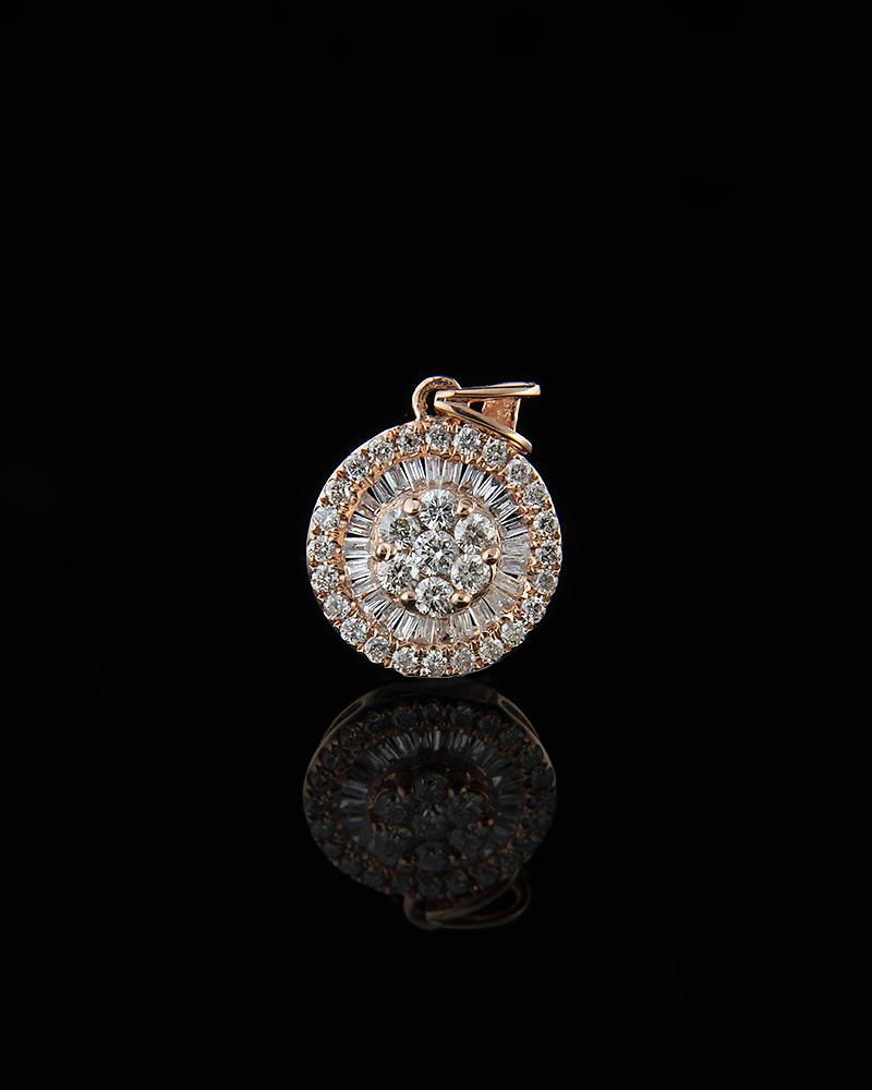 Κρεμαστό ροζ χρυσο Κ18 με Διαμάντια   γυναικα κρεμαστά κολιέ κρεμαστά κολιέ ροζ χρυσό