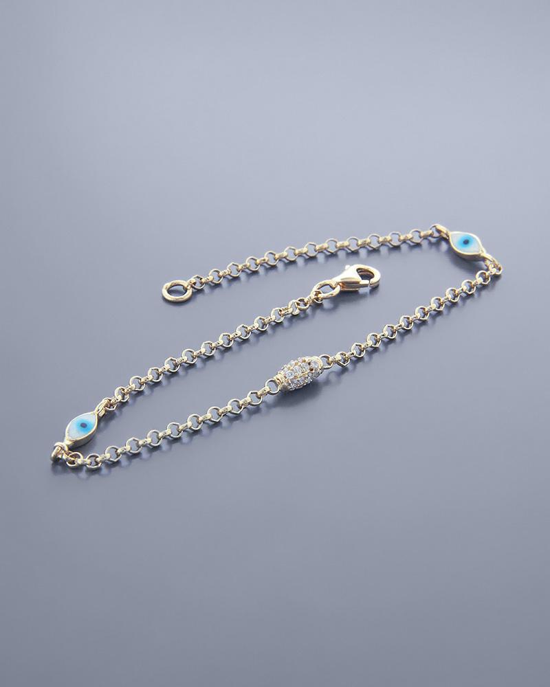 Βραχιόλι ματάκι χρυσό Κ14 με Ζιργκόν   γυναικα κοσμήματα με ματάκι
