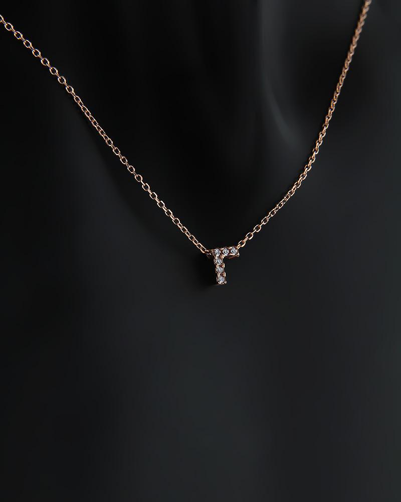 """Μονόγραμμα """"Γ"""" ροζ χρυσό 14Κ με Ζιργκόν   γυναικα κρεμαστά κολιέ κρεμαστά κολιέ μονόγραμμα"""