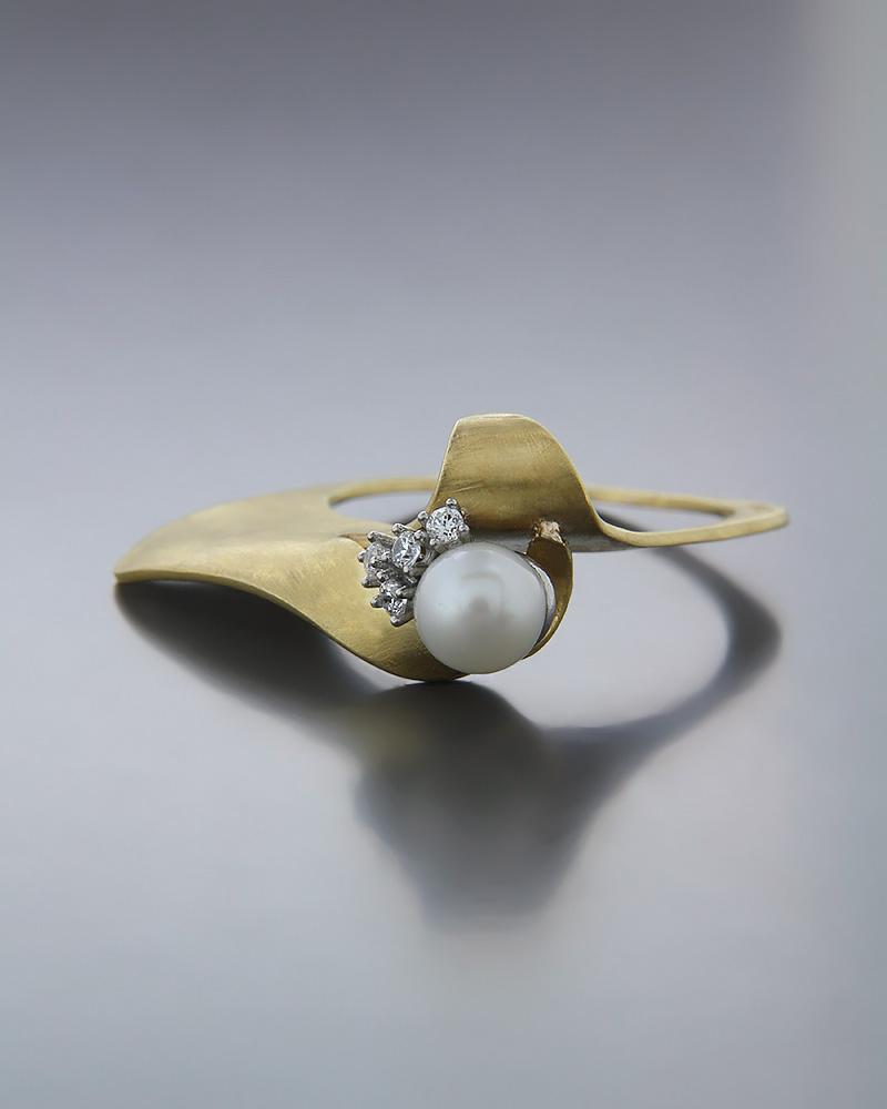 Χειροποίητο Δαχτυλίδι χρυσό Κ14 με Μαργαριτάρι & Ζιργκόν