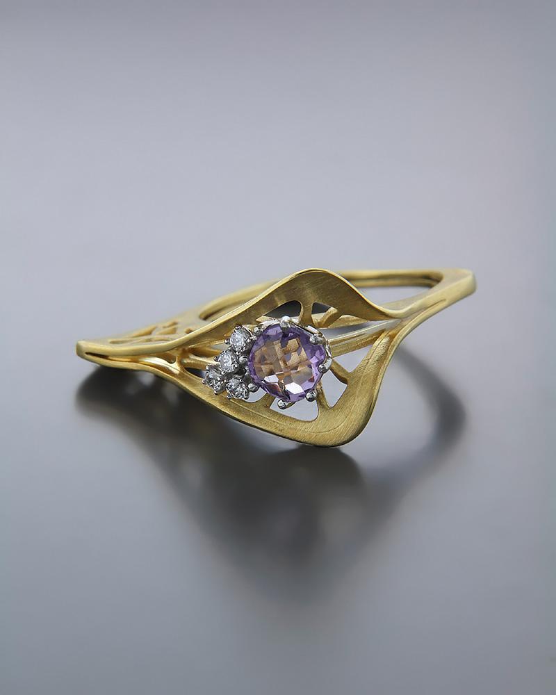 Χειροποίητο Δαχτυλίδι χρυσό Κ14 με Αμέθυστο & Ζιργκόν   κοσμηματα δαχτυλίδια δαχτυλίδια fashion