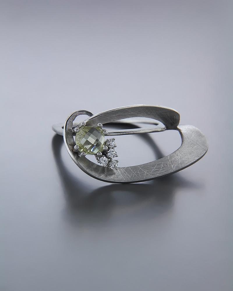 Χειροποίητο Δαχτυλίδι λευκόχρυσο Κ14 με Τοπάζι & Ζιργκόν   κοσμηματα δαχτυλίδια δαχτυλίδια fashion