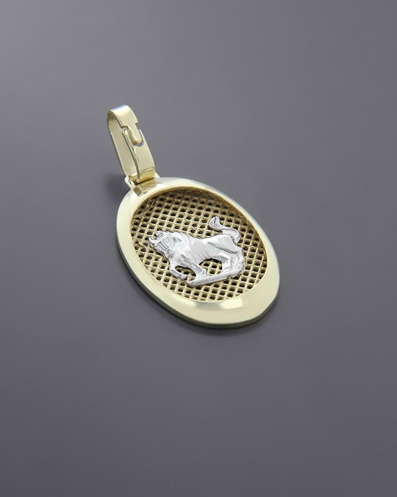 Ζώδιο χρυσό & λευκόχρυσο Κ14 Ταύρος   παιδι κρεμαστά κολιέ ζώδια