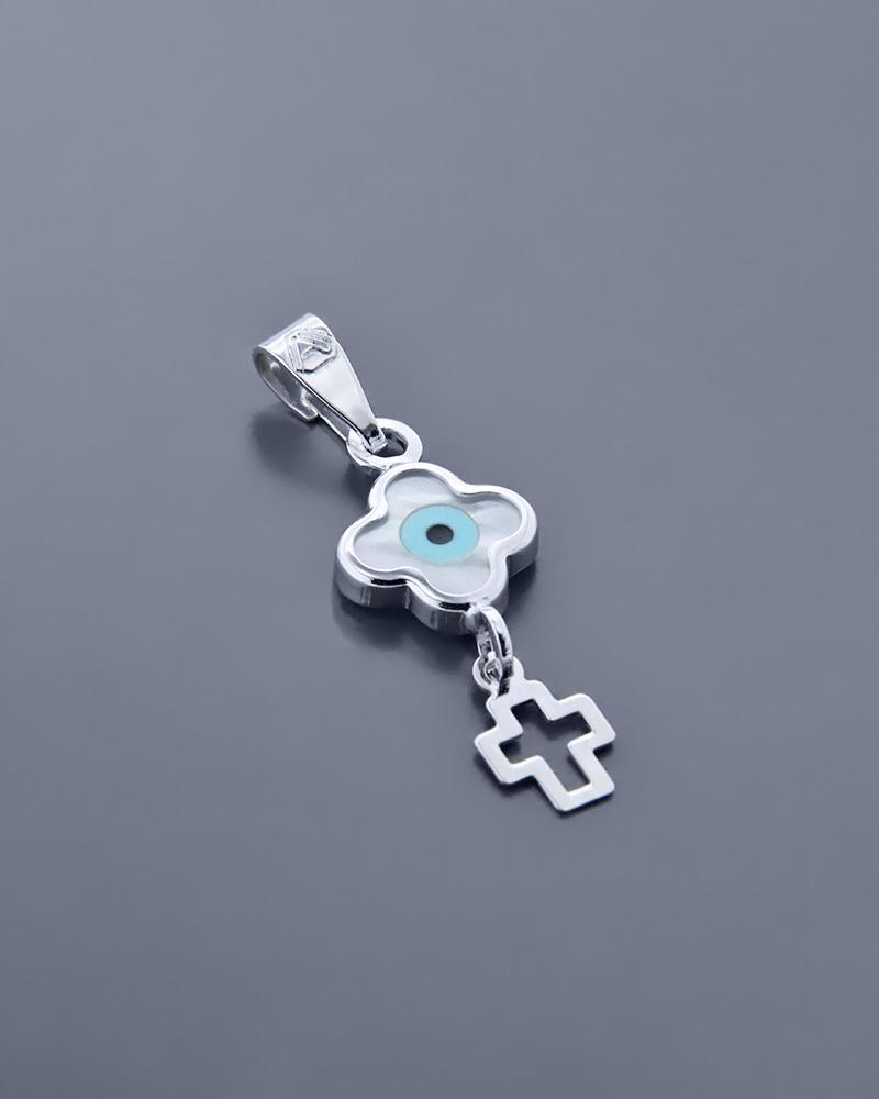 Κρεμαστό ματάκι λευκόχρυσο Κ9 με Φίλντισι   γυναικα κοσμήματα με ματάκι