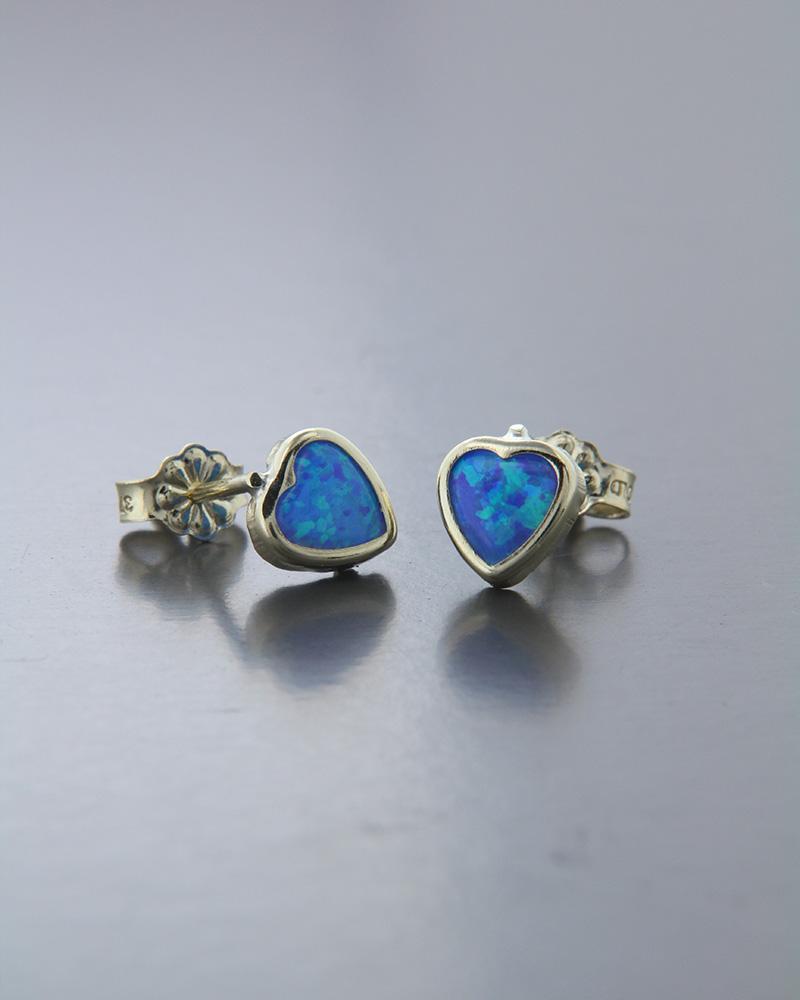 Σκουλαρίκια καρδιές χρυσά Κ9 με Μπλε Ζιργκόν   νεεσ αφιξεισ κοσμήματα παιδικά